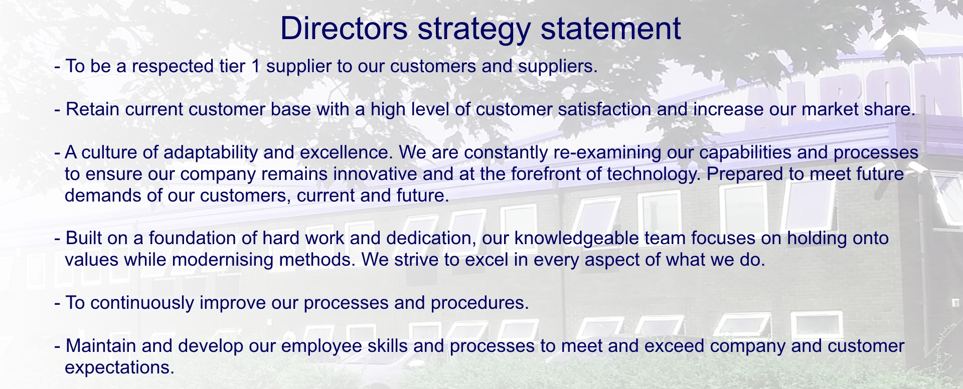 Directors Strategy Statement HomePage At the very bottom